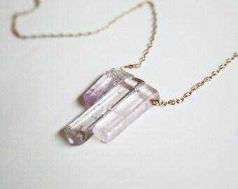 Rose Quartz Triple Stone Pendant Necklace