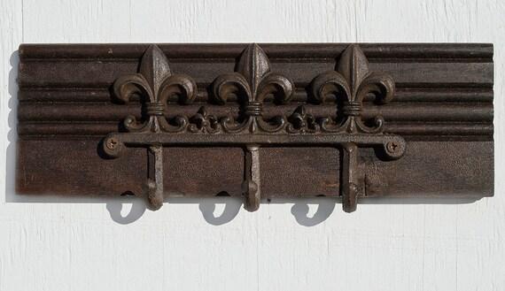 Fleur de lis hooks rustic coat hooks cast iron hooks - Fleur de lis coat hook ...