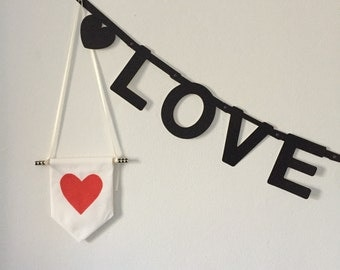 Red heart banner, hand drawn onto 100% cotton