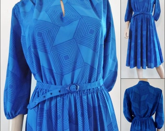 70s French royal blue polyester dress pretty blue secretary midi dress summer midi dress size medium