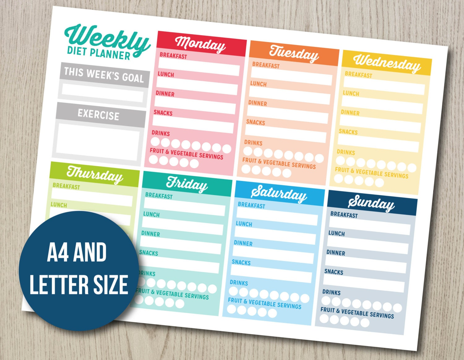 Weekly Diet Planner Bujo Bullet Journal Printable