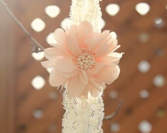 Peach Flower And Ivory Lace Headband