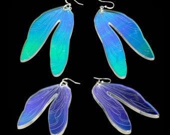 PANIKA holographic dragonfly wings earrings / laser cut perspex  magic shiny earrings