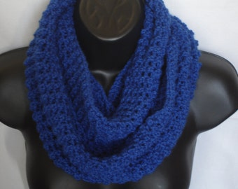 Hand crochet royal blue lightweight infinity scarf