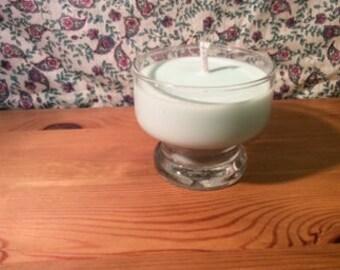 Spring rain scented aquamarine bowl candle