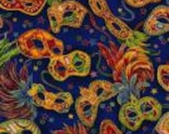 Celebrations II - Mardi Gras Masks on Blue Fabric