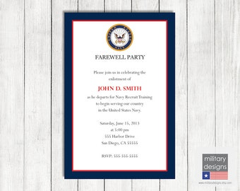 Navy Farewell Invitation, Printable US Navy Farewell Invitation, Military Farewell Invitation, Military Farewell Party Invitation