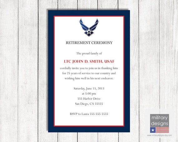 Air Force Retirement Ceremony Invitation Printable US Air