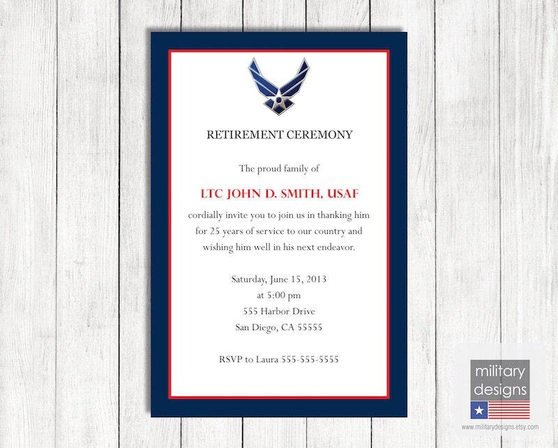 Air Force Retirement Ceremony Invitation Printable US Air