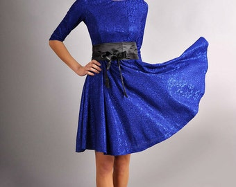 Original blue  dress with a bow. Autumn dress for woman. Wedding party dress.