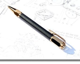 Carbon Fibre & 22ct Gold Ballpoint Pen