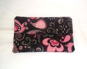 Pocket Travel Size Tissue Holder - Paisley Design in Shades of Pink on Brown