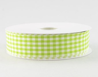"Lime Green and White Gingham Ribbon - 1.5"" x 10 Yards"