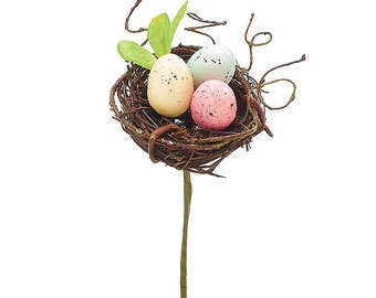 "8 1/2"" Birds Nest Pick - Wreath Accessory"
