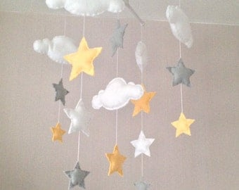 Baby mobile - Cot mobile - clouds and stars - Cloud Mobile - Nursery Decor - Pastel Nursery - Pastel baby mobile