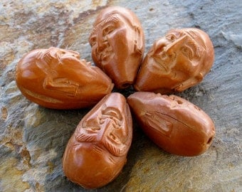 Five Chinese Carved Olive Pit Wood Seed Immortal Face Beads