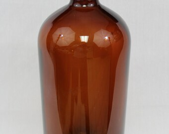 Large Antique Amber Apothecary Botlte