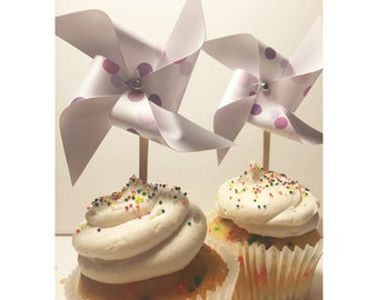 Pinwheels Toppers, Mini Polka Dot & Shimmer Paper Pinwheels Cupcake Toppers, Party Picks, Pinwheel Picks, Polka Dot Birthday Cupcake Toppers