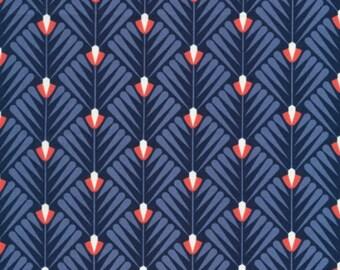 SALE - Cloud 9 Fabrics *Wildwood - Deco Petal* navy