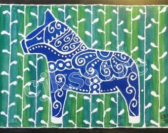 5 x 7 Watercolor Card/Print: Dala Horse 2