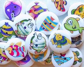 10  Wooden Fish Buttons - #WS-00019