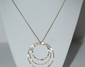 Vintage, Sterling Silver, Hoop Pendant, Necklace, Jewelry, Boho Chic