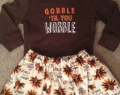 Thanksgiving outfit first Turkey Day everyone is thankful for me shirt skirt baby girl dress up bodysuit bow size NB 3 6 9 12 18 24