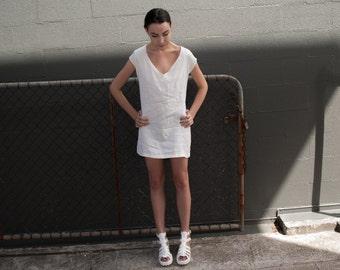 Cream Linen T-shirt Dress - Linen Dress - Loose Dress - Short Sleeve Dress - T Shirt Dress - White Dress - Minimalist Clothing
