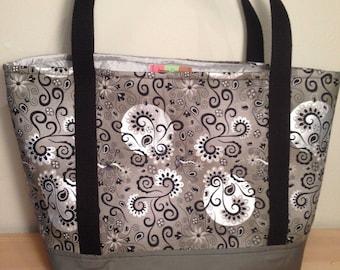 Silver white and black swirls bag