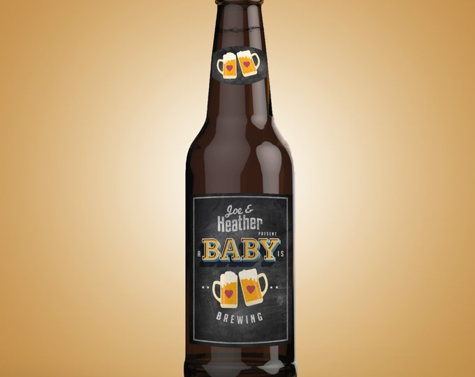 Personalized DIGITAL Beer Labels for Baby Showers, Weddings & Special Occasions, baby is brewing, baby and BBQ, beer and BBQ, party
