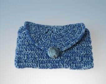 Blue wool case / cosmetic bag / clutch