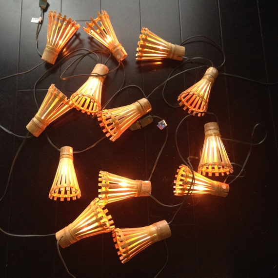 Retro Hanging Wooden Tiki Lights Two Strands String of Lights