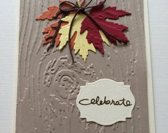 Hand Made, Hand  Stamped, Fall, Maple Leaves, Celebrate, Original Design