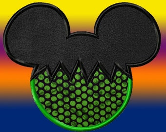Mickey Mouse Halloween Applique Design 5 sizes, dst, exp, hus, jef, pes, sew, vip, vp3, Formats Digital INSTANT DOWNLOAD