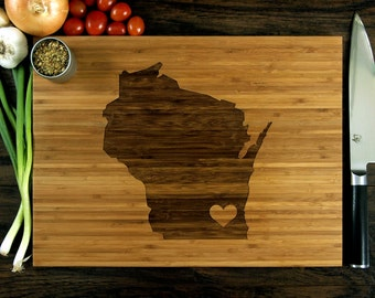 Personalized Cutting Board, Custom Wedding Gift, Anniversary Gift, Housewarming Gift, Wisconsin State Engraving With Heart