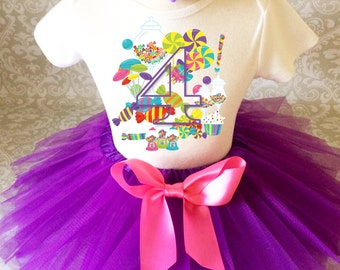 Birthday Candy Oh So Sweet Candyland Land Purple Pink  4th Fourth Shirt & Tutu Set Girl Outfit Party  2t 3t 4t 5t 5/6 7