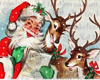 SANTA CHRISTMAS FABRIC Santa Fabric Block For Fat Quarter cfsf06.