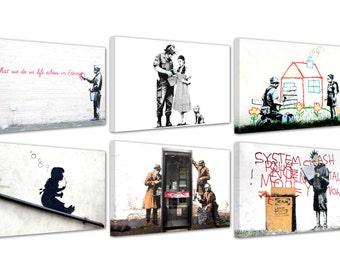 "Banksy/Graffiti/Street Art/set of 6 new framed canvas prints/ 12""x 8""x 0,70"""