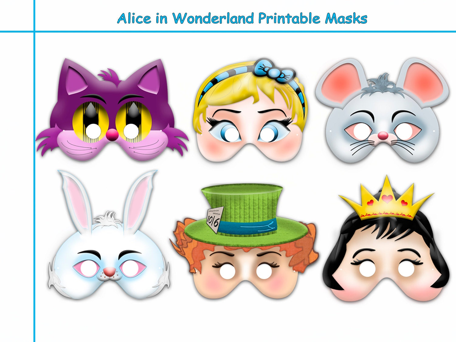 unique alice in wonderland printable masks party - Cheshire Cat Smile Coloring Pages