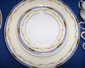 Heinrich & Co.Antique Bone China Service for 12 Selb Bavarian 66 piece Pattern HC40 Cobalt Blue Band, Pink and Green Rose Garland, Gold