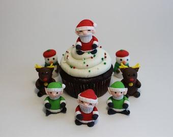 Fondant Christmas Variety Pack, Santa, Elf, Reindeer, Snowman, 12 pack