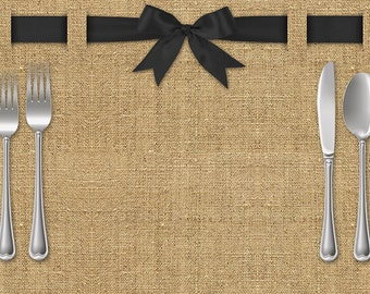 Burlap & Ribbon Paper Placemats