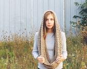 womens chunky cowl hood infinity scarf - Francis - taupe
