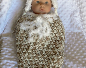 Newborn Crocheted Swaddle Sack & Pixie Bonnet