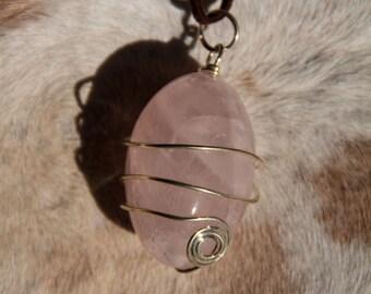 Rose Quartz Wire Wrapped Necklace
