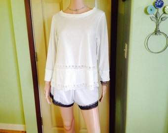Womens jersey knit Top with Lace trim
