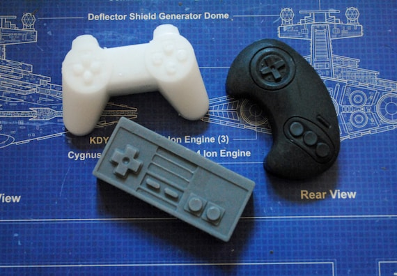 3 x Mini Computer Controller Soaps - Playstation, NES, Sega - Mini Controller Soaps