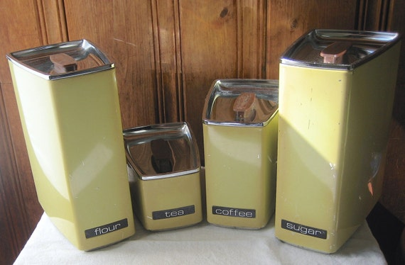 yellow kitchen storage jars vintage wedge shaped canisters set of four stackable yellow 1694
