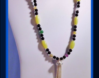Mix gemstone  necklace and earring set