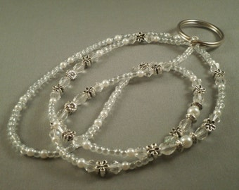 "white and clear beaded  ID or key lanyard 26"" to 42"" plus attachment,your choice of attachment: key or ID holder"